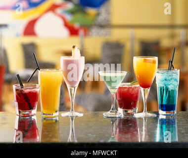 Selection of cocktails in a variety of glasses - Stock Photo