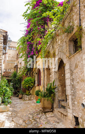 Close view of the house in Saint Paul de Vence, medieval town in France - Stock Photo
