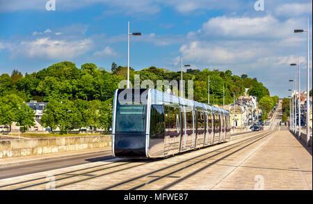 Wireless tram on Pont Wilson Bridge in Tours - France - Stock Photo