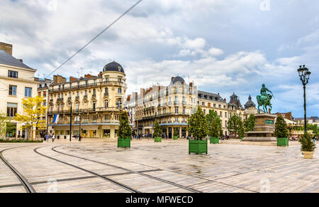 Place du Martroi, the main square of Orleans - France - Stock Photo