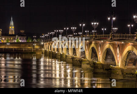 Night view of Pont de pierre in Bordeaux - Aquitaine, France - Stock Photo