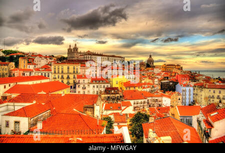 View of the historic center of Lisbon in the evening - Portugal - Stock Photo