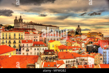 View of the Monastery of Sao Vicente de Fora in Lisbon - Stock Photo