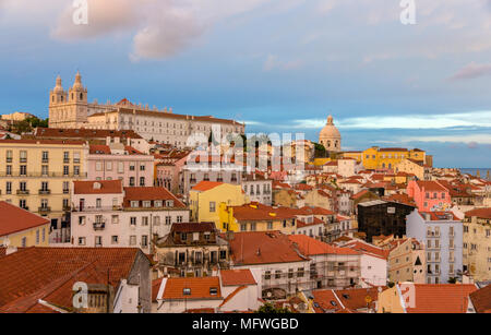 Evening view of Lisbon - Portugal - Stock Photo