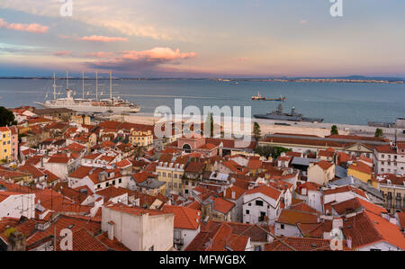 View of the River Tagus in Lisbon, Portugal - Stock Photo