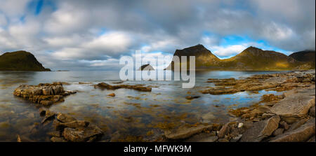 Panorama of Haukland beach on Lofoten islands in Norway - Stock Photo