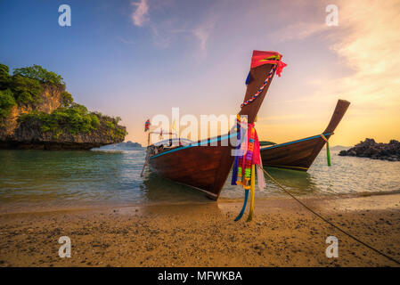 Thai longtail boats parked at the Koh Hong island in Thailand - Stock Photo