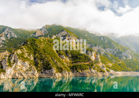Piva, a river in Montenegro and Bosnia and Herzegovina and the rocks of Montenegro - Stock Photo