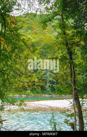 River Drina, the border between Serbia, Montenegro and Bosnia and Herzegovina - Stock Photo