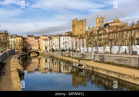 Canal de la Robine in Narbonne,  Languedoc-Roussillon - France - Stock Photo