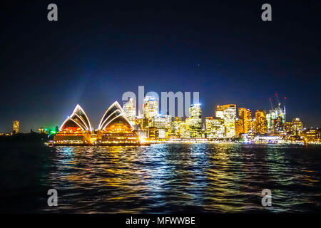 Sydney city and opera house at night, Australia - Stock Photo