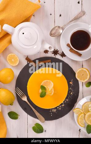 Lemon cheesecake. - Stock Photo