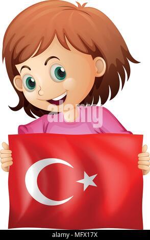 A Girl Holding Turkish Flag illustration - Stock Photo