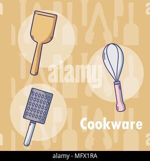 Set of kitchen cookware utensils - Stock Photo