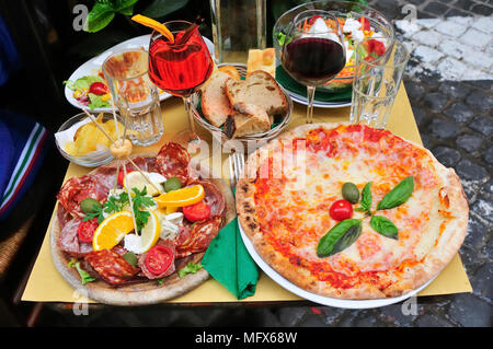 Pizza romana and salads. Rome, Italy - Stock Photo