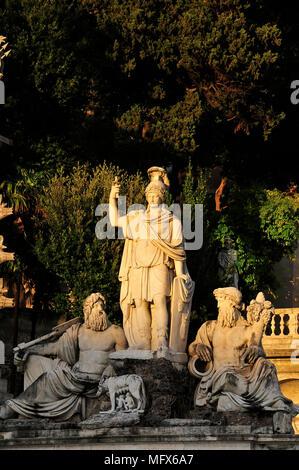 Fountain of Goddess Roma (Fontana della Dea di Roma). Piazza del Popolo, Rome. Italy - Stock Photo
