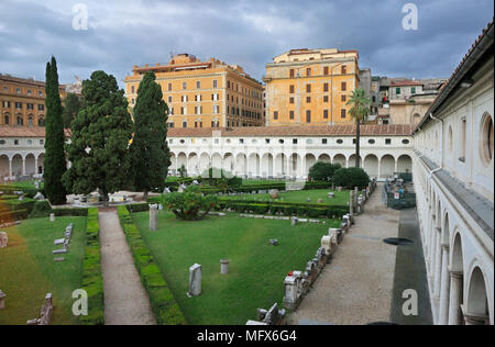 Michelangelo's Cloister, where we can see more than 400 artworks. Baths of Diocletian (Terme di Diocleziano). Rome, Italy - Stock Photo