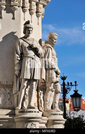 The portuguese poets Gomes Eanes de Azurara and Vasco Mouzinho de Quebedo. Camões square. Lisbon, Portugal - Stock Photo
