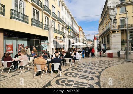 Chiado Square and the historic Cafe A Brasileira. Lisbon, Portugal - Stock Photo