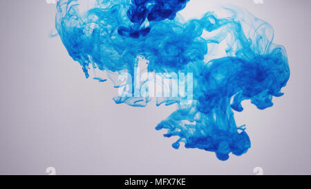 Blue ink/smoke in front of white background - Stock Photo