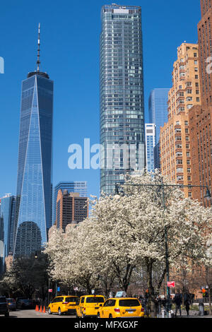 Skyscrapers in Lower Manhattan including One World Trade Center, NYC, USA - Stock Photo