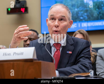 Scott Pruitt, Administrator, United States Environmental Protection Agency (EPA) testifies before the US House Committee on Energy and Commerce on the Fiscal Year 2019 Environmental Protection Agency Budget on Capitol Hill in Washington, DC on Thursday, April 26, 2018. Pruitt was questioned extensively about his spending and ethic lapses while running the EPA. Credit: Ron Sachs / CNP   - NO WIRE SERVICE - Photo: Ron Sachs/Consolidated/dpa - Stock Photo