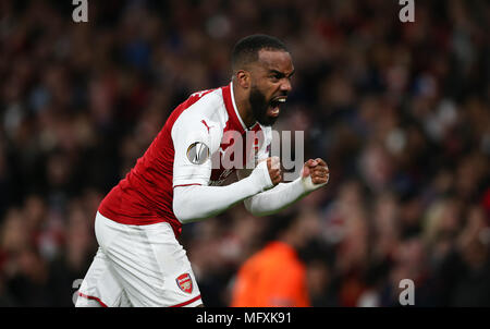 London, UK. 26th April, 2018. X during the UEFA Europa League Semi Final first leg match between Arsenal and Atletico Madrid at Emirates Stadium on April 26th 2018 in London, England. Credit: PHC Images/Alamy Live News - Stock Photo