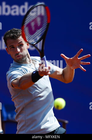 Barcelona, Spain. 26th Apr, 2018. Grigor Dimitrov of Bulgaria during the Round 3 of the tournament Banc Sabadell Barcelona Open Tennis tournament. Credit: Eric Alonso/ZUMA Wire/Alamy Live News - Stock Photo