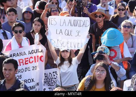26 April 2018, Mexico, Guadalajara: Demonstrators carry a