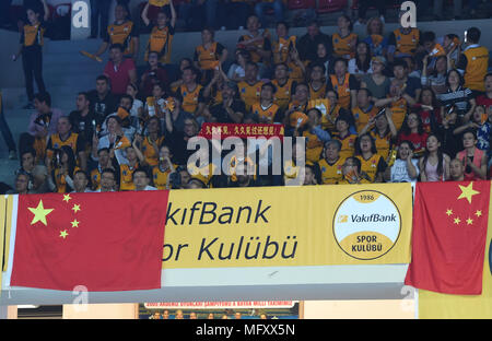(180427) -- ISTANBUL, April 27, 2018(Xinhua) -- Suppoters cheer up for Vakifbank during the fifth leg match of the 2017-2018 Turkish Women Volleyball League final series between Vakifbank and Eczacibasi in Istanbul, Turkey, on April 26, 2018. Vakifbank won the match 3-0 and claimed the champion with 3-2 in total.(Xinhua/He Canling) - Stock Photo