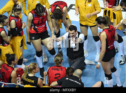 (180427) -- ISTANBUL, April 27, 2018(Xinhua) -- Vakifbank player head coach Giovanni Guidetti(C) reacts during the fifth leg match of the 2017-2018 Turkish Women Volleyball League final series between Vakifbank and Eczacibasi in Istanbul, Turkey, on April 26, 2018. Vakifbank won the match 3-0 and claimed the champion with 3-2 in total.(Xinhua/He Canling) - Stock Photo