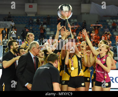 (180427) -- ISTANBUL, April 27, 2018 (Xinhua) -- Vakifbank players lift the trophy after the fifth leg match of the 2017-2018 Turkish Women Volleyball League final series between Vakifbank and Eczacibasi in Istanbul, Turkey, on April 26, 2018. Vakifbank won the match 3-0 and claimed the champion with 3-2 in total.(Xinhua/He Canling) - Stock Photo