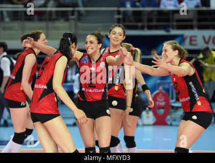 (180427) -- ISTANBUL, April 27, 2018 (Xinhua) -- Vakifbank player Gozde Kirdar (3rd L) celebrates scoring with her teammates during the fifth leg match of the 2017-2018 Turkish Women Volleyball League final series between Vakifbank and Eczacibasi in Istanbul, Turkey, on April 26, 2018. Vakifbank won the match 3-0 and claimed the champion with 3-2 in total.(Xinhua/He Canling) - Stock Photo