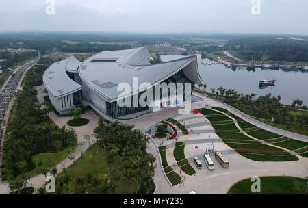 Haikou. 26th Apr, 2018. Aerial photo taken on April 26, 2018 shows China Nanhai (South China Sea) Museum at Tanmen Township in Qionghai City, south China's Hainan Province. The museum opened here Thursday. Credit: Zhao Yingquan/Xinhua/Alamy Live News - Stock Photo