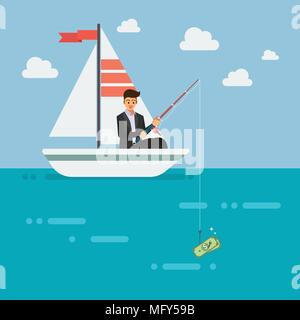 Businessman fishing money. Business concept - Stock Photo