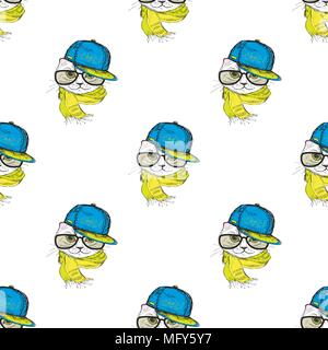 Seamless pattern Funny fashion cat in a cap,scarf and glasses. Hand drawn.Vector illustration - Stock Photo