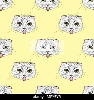 Seamless pattern Funny fashion cat. Hand drawn.Vector illustration - Stock Photo