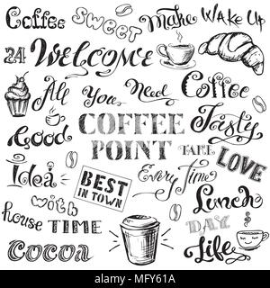 Coffee lettering,hand drawn on white background, stock vector illustration - Stock Photo