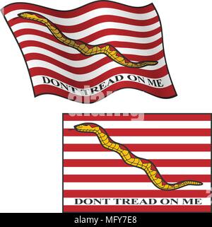 Dont Tread On Me Flag, Waving and Flat, Vector Graphic Illustration - Stock Photo