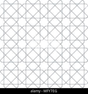 Entwined modern pattern, based on traditional oriental arabic patterns. Seamless vector background. Easy to recolor. Arabesque geometric pattern. Trad - Stock Photo