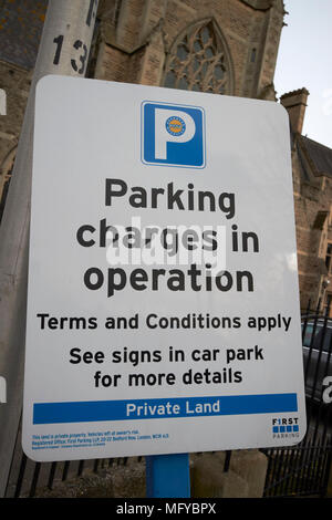 warning sign for private land and parking charges in operation bath england uk - Stock Photo