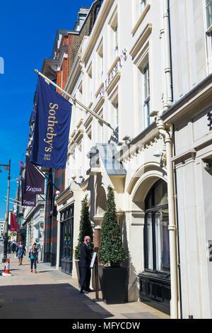 The entrance to Sotheby's on New Bond Street, London, UK - Stock Photo