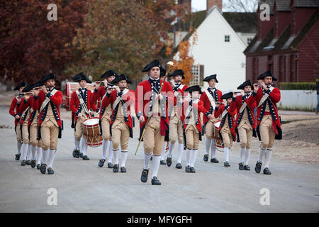 Colonial fife and drum marching band Duke of Gloucester Street colonial Williamsburg Virginia - Stock Photo