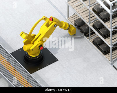 Heavyweight robotic arm carrying car seats in car assembly production line. 3D rendering image. - Stock Photo