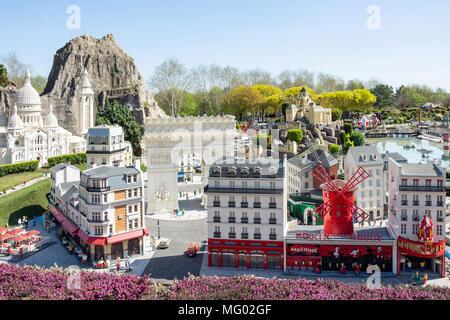 Paris sights at Miniland France, Legoland Windsor Resort, Windsor, Berkshire, England, United Kingdom - Stock Photo