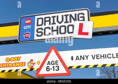 Lego City Driving School sign, Legoland Windsor Resort, Windsor, Berkshire, England, United Kingdom - Stock Photo