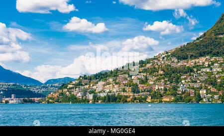 Lugano city on the mountain Bre, SWitzerland - Stock Photo