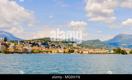 Lugano, a city in the south of Switzerland, in the Italian-speaking canton of Ticino - Stock Photo