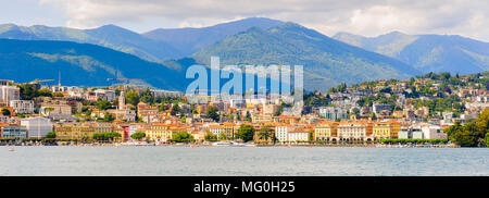 Beautiful panorama of Lugano city, south of Switzerland - Stock Photo
