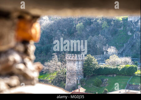 View from The Torre Bianca (White tower) of the Castelgrande in Bellinzona, Switzerland. UNESCO WOrld Heritage sign - Stock Photo